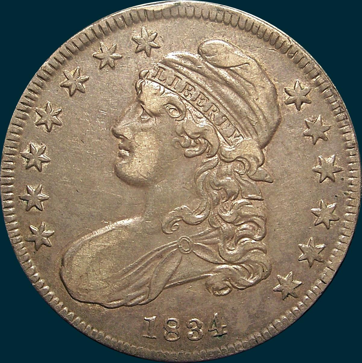 1834, O-116, Small Date, Small Letters, Capped Bust, Half Dollar