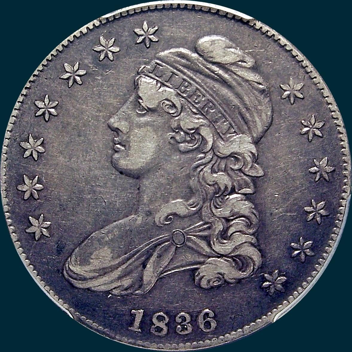1836, O-108, 1836 over 1336, Capped Bust, Half Dollar