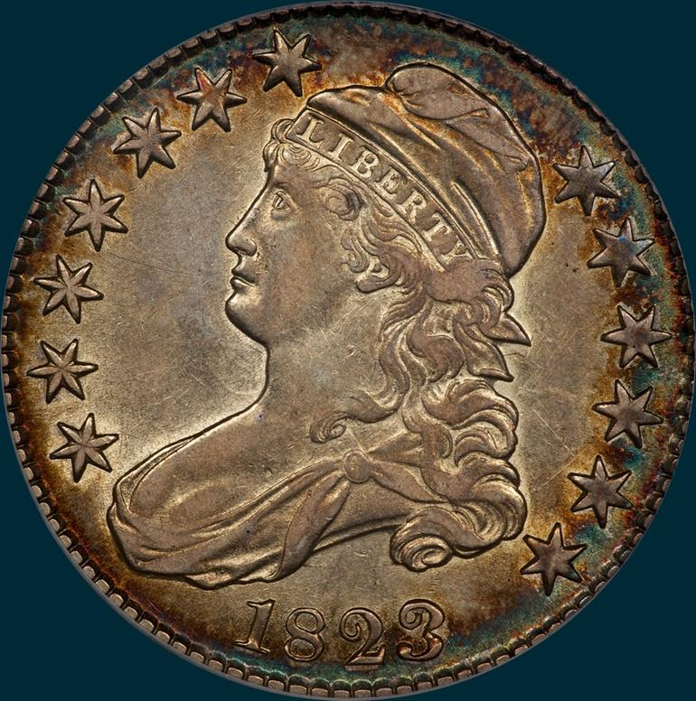 1823, O-101, Broken 3, Capped Bust, Half Dollar