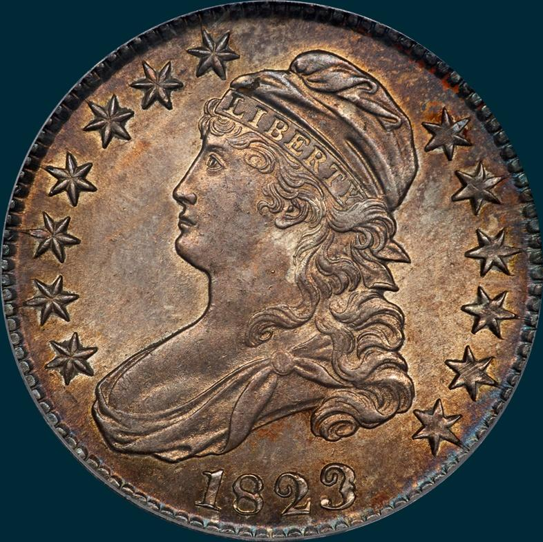 1823, O-101a, Patched 3, Capped Bust Half Dollar