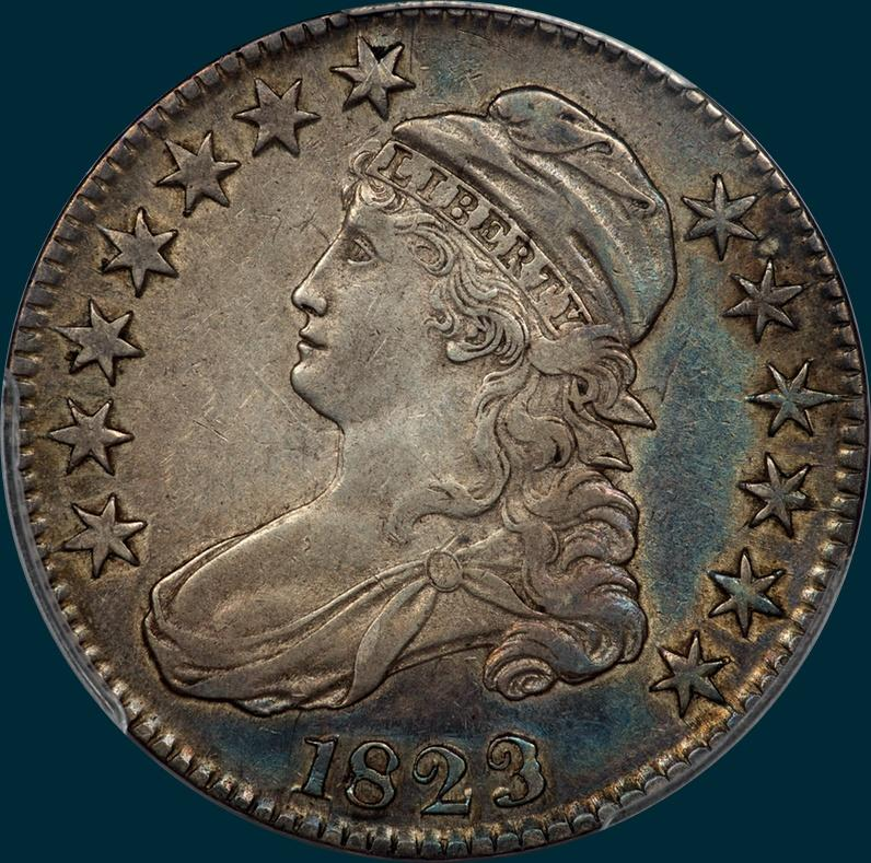 1823, O-110a, Ugly 3, Capped Bust, Half Dollar