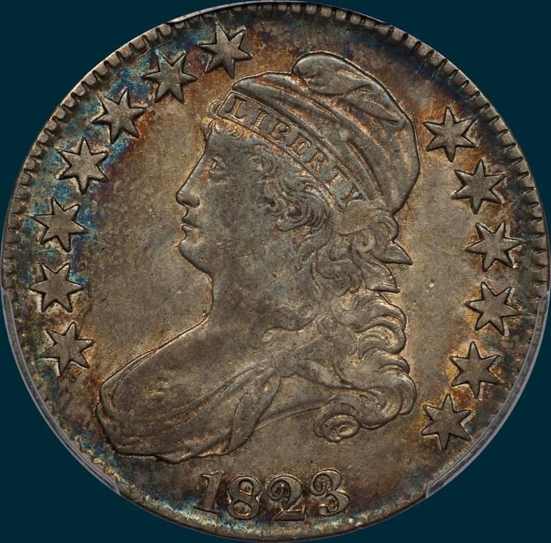 1823, O-103, Capped Bust, Half Dollar