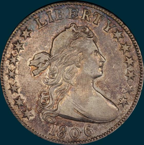1806, O-108, Knobbed 6, No stem, Draped Bust, Half Dollar