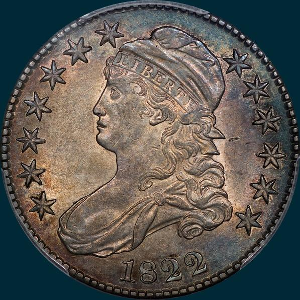 1822 O-115, capped bust, half dollar
