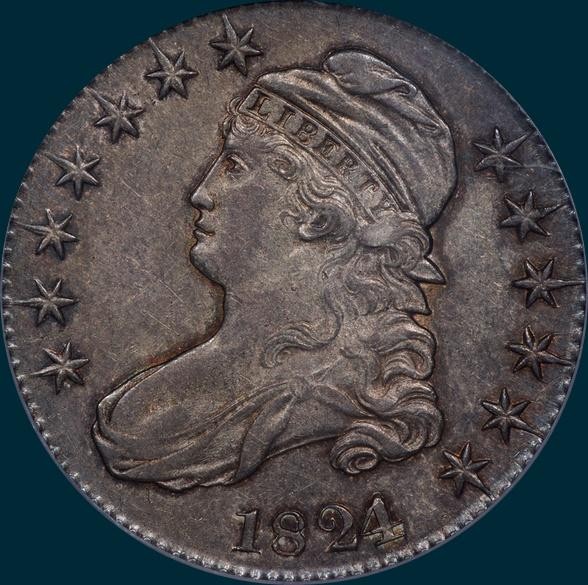 1824 O-102,Capped Bust, half dollar