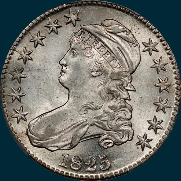 1825 O-104, capped bust half dollar