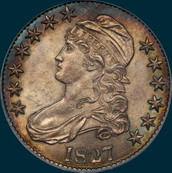 1827, O-116, R4+, Square Base 2, Capped Bust, Half Dollar