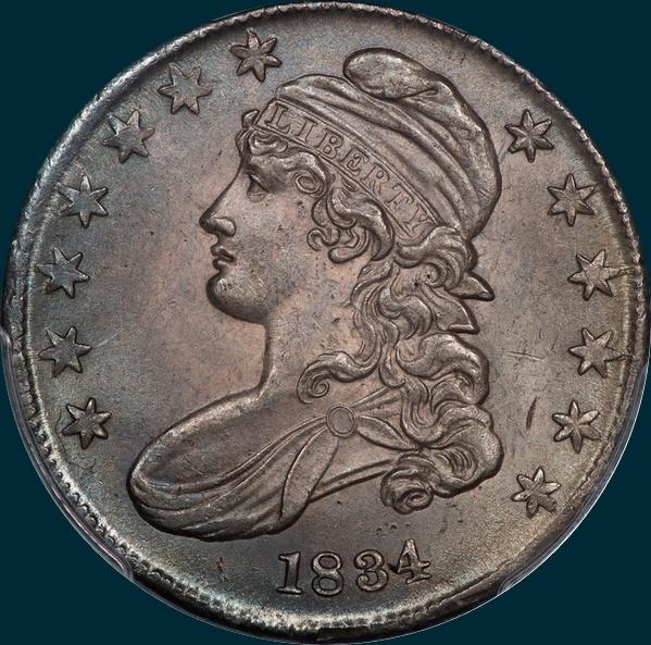 1834, O-113, Small Date, Small Letters, Capped Bust, Half Dollar