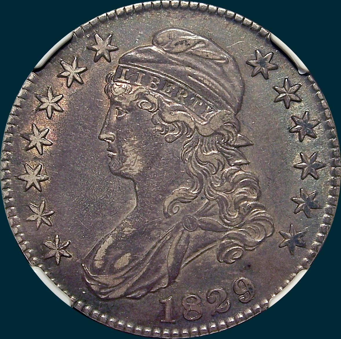1829, O-110a, Large Letters, Capped Bust, Half Dollar