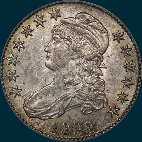 1829, O-110, Large Letters, Capped Bust, Half Dollar