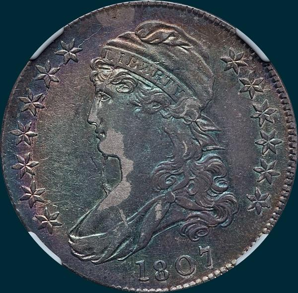 1807, O-111b, Capped Bust, Half dollar, Bearded Goddess