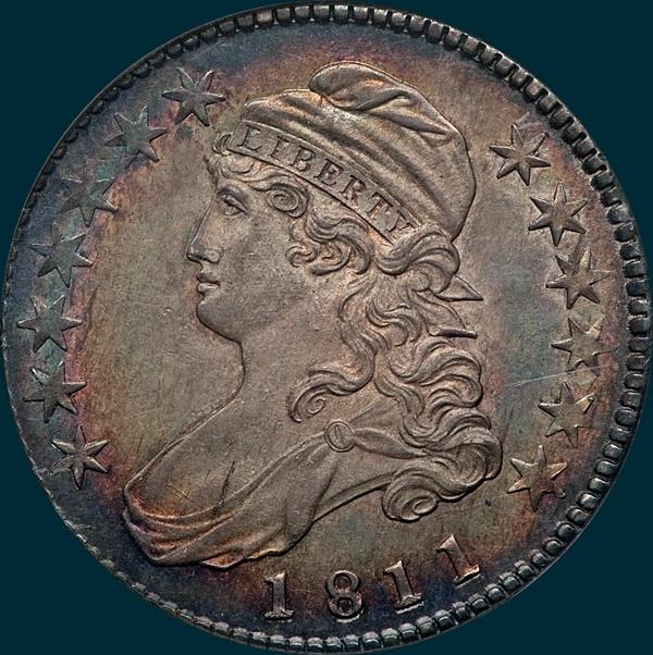 1811 o-105, Small 8, Capped Bust, half Dollar