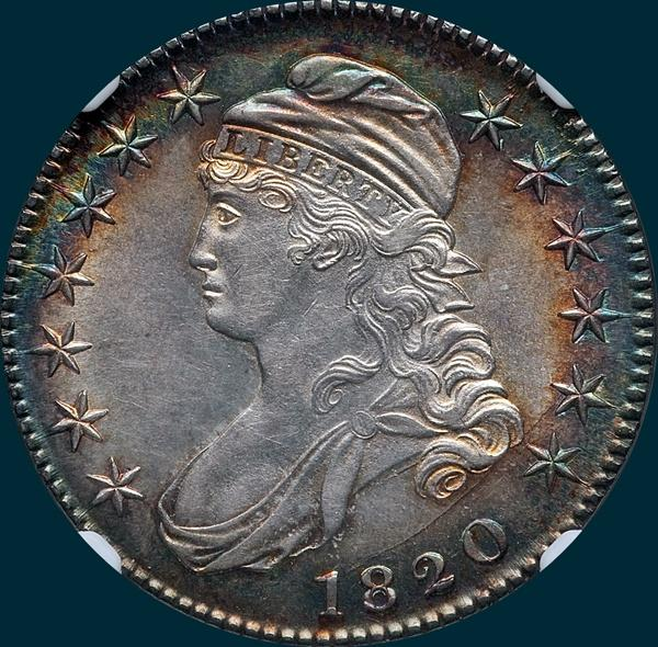1820, O-103a, Small Date, Curled 2, Capped Bust Half Dollar
