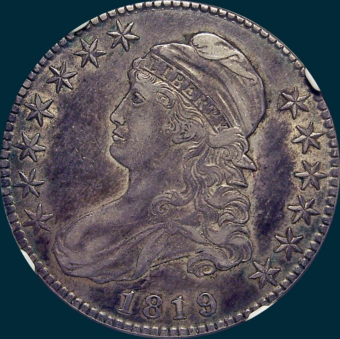 1819, O-107, Capped Bust, Half Dollar