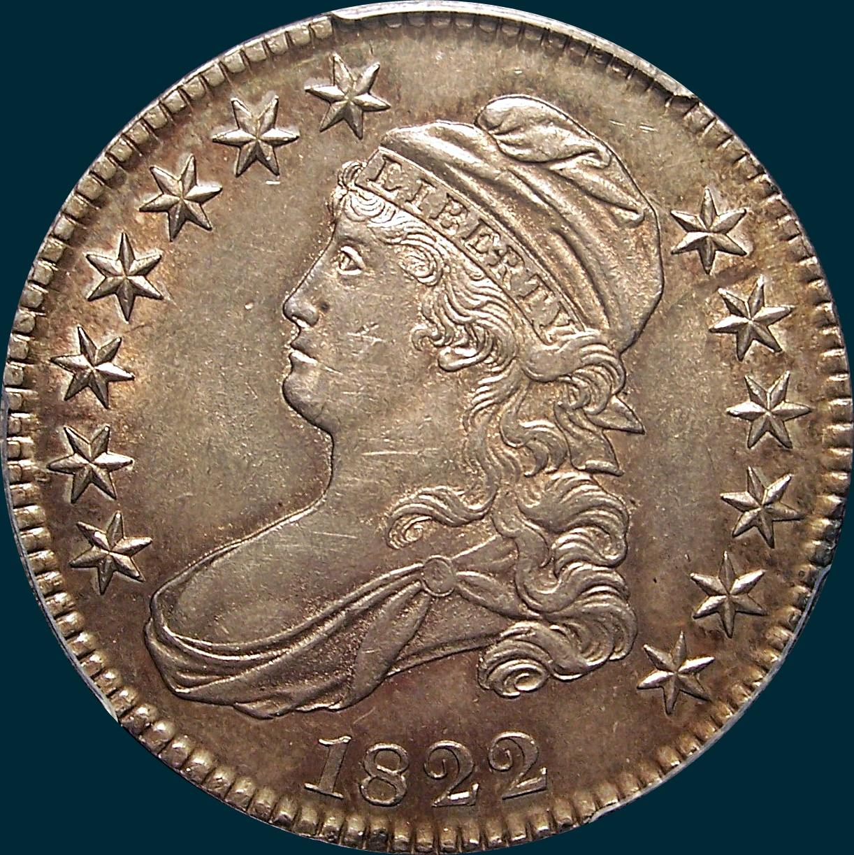 1822 O-105, capped bust, half dollar
