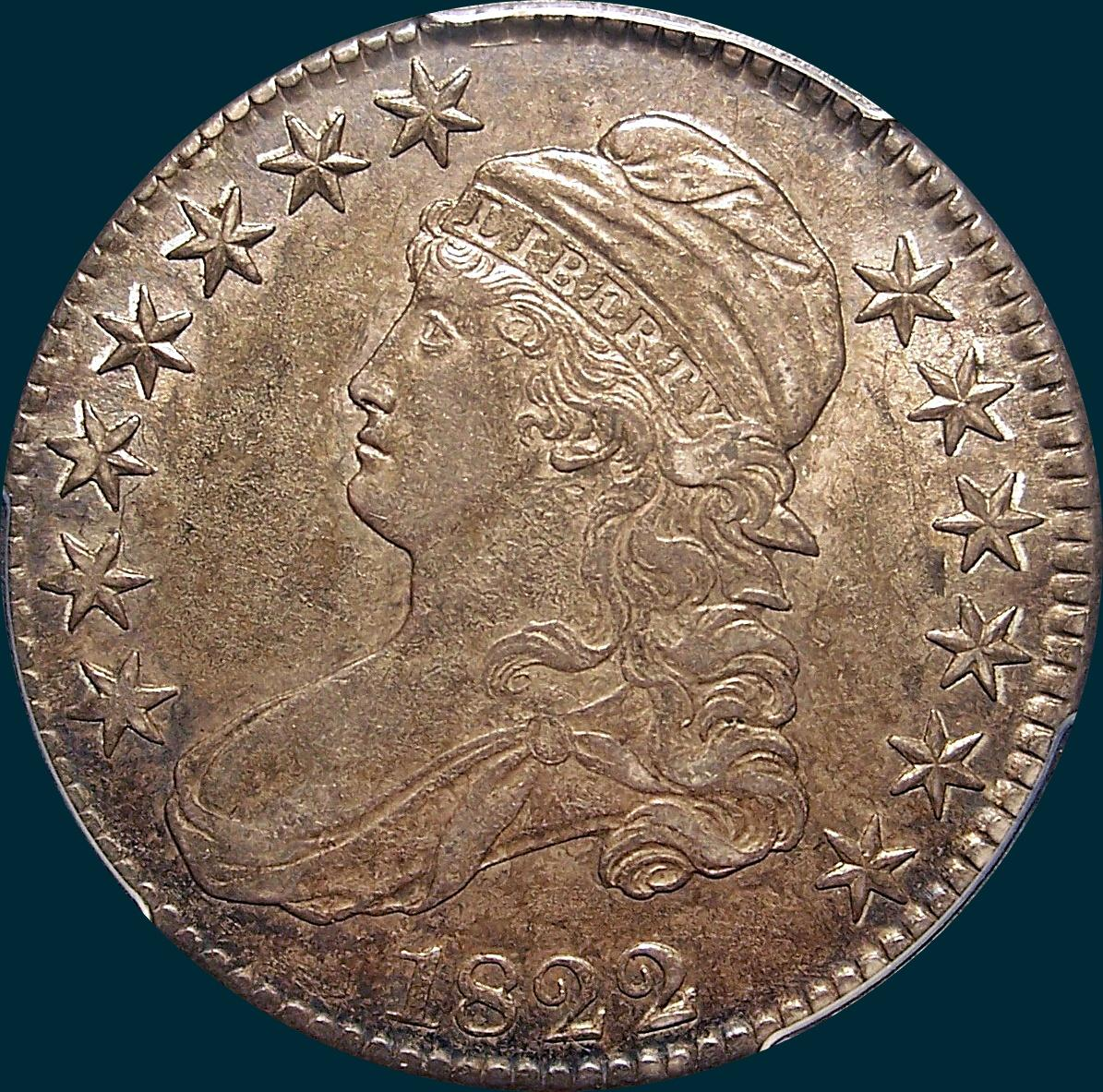 1822 O-106, capped bust, half dollar