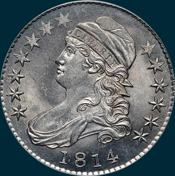 1814 o-104, capped bust half dollar