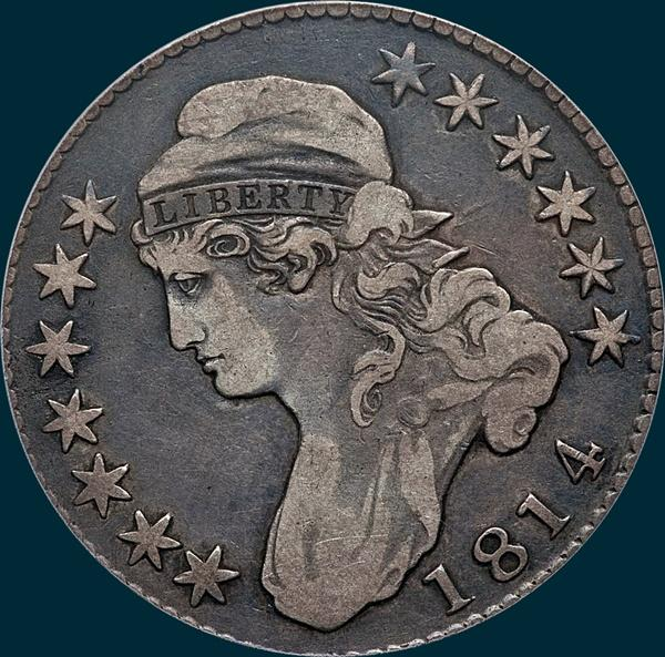 1814, O-107', Capped Bust, Half Dollar