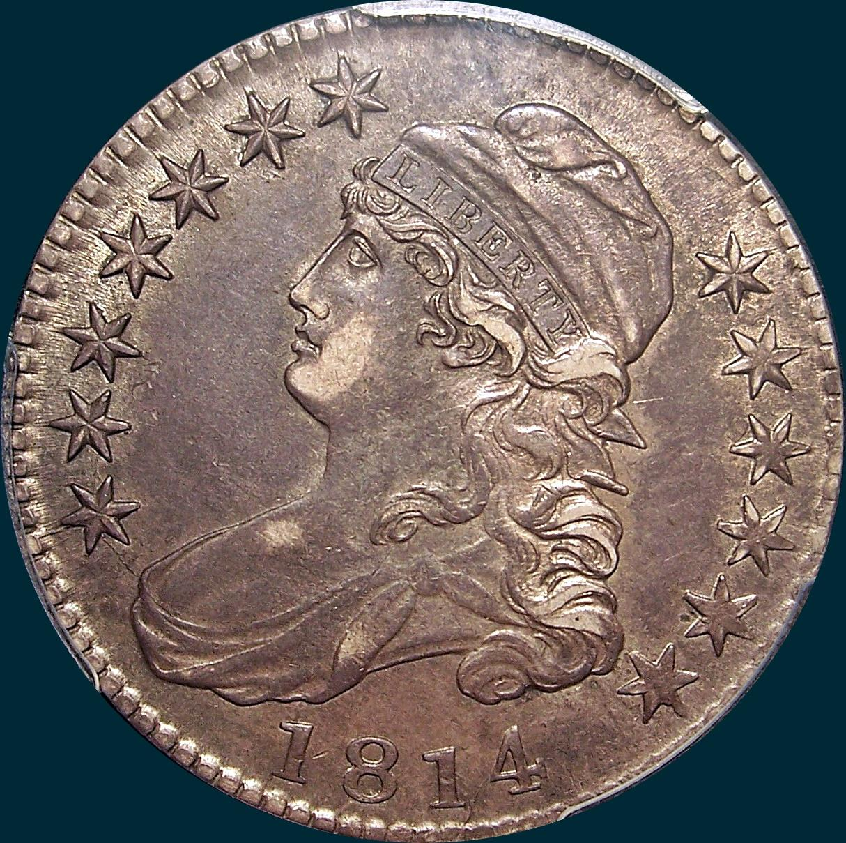 1814, E over A, O-108, capped bust half dollar