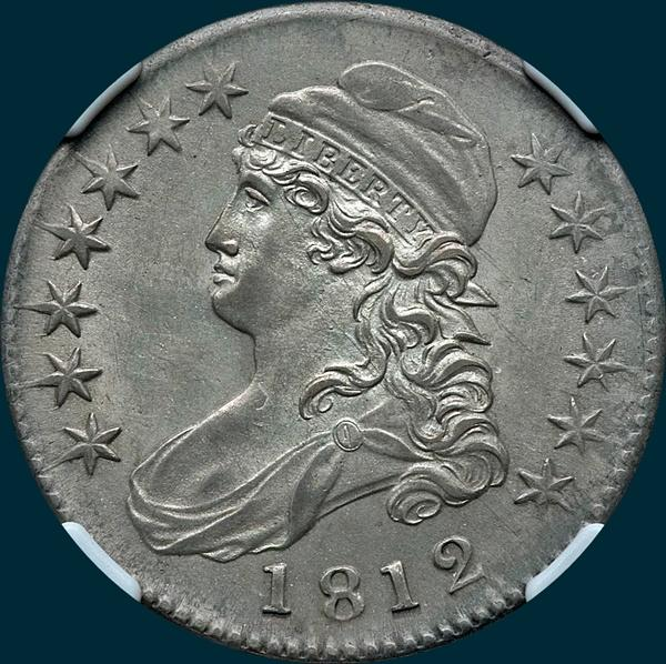 1812 O-108, capped bust half dollar