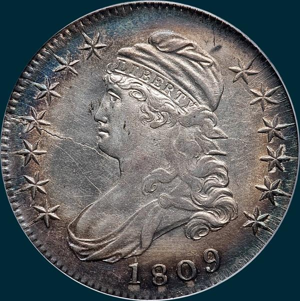 1809 O-110, capped bust, half dollar