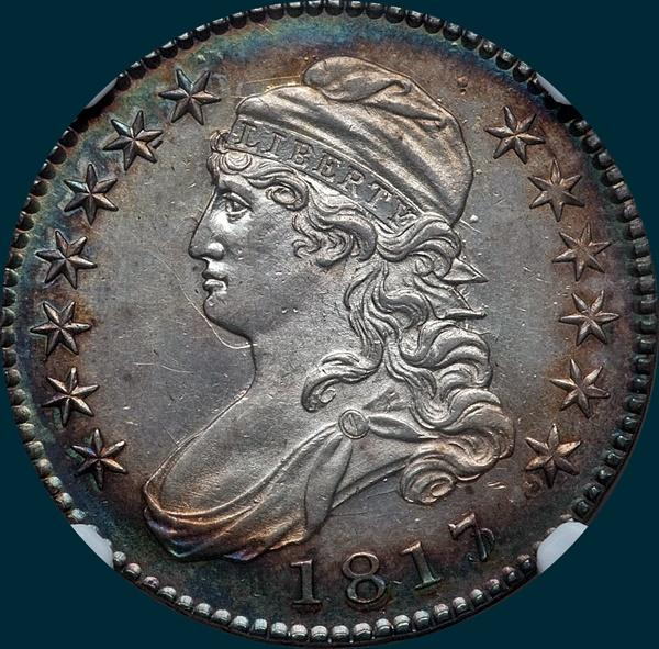1817, O-101, 7 over 3, Capped Bust, Half Dollar
