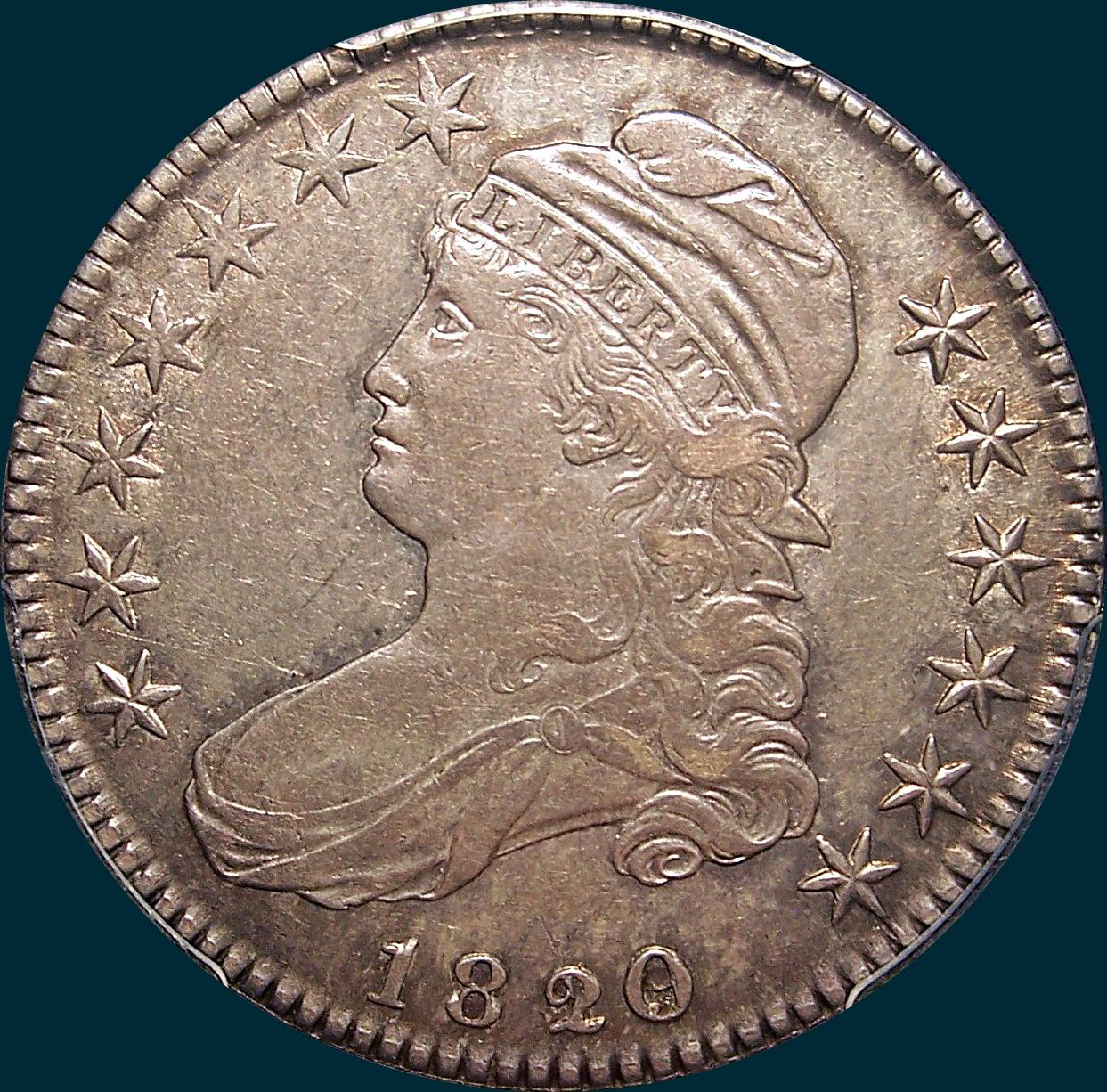 1820, O-102, 20 over 19, Curl Base 2, Capped Bust, Half Dollar