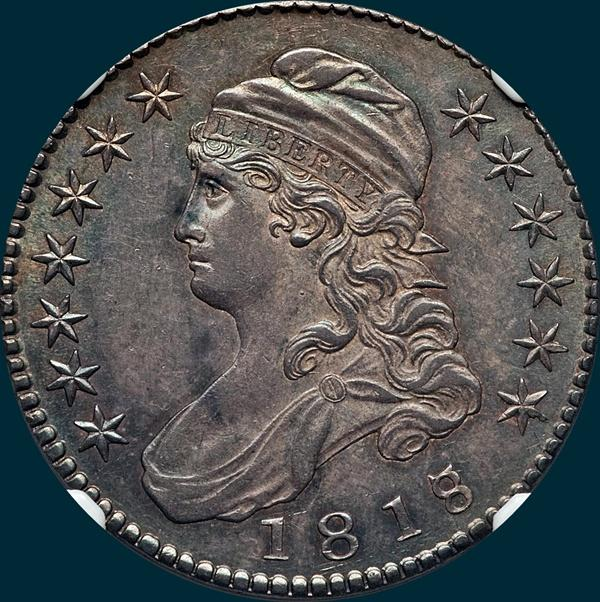 1818/7, O-101, Capped Bust, Half Dollar