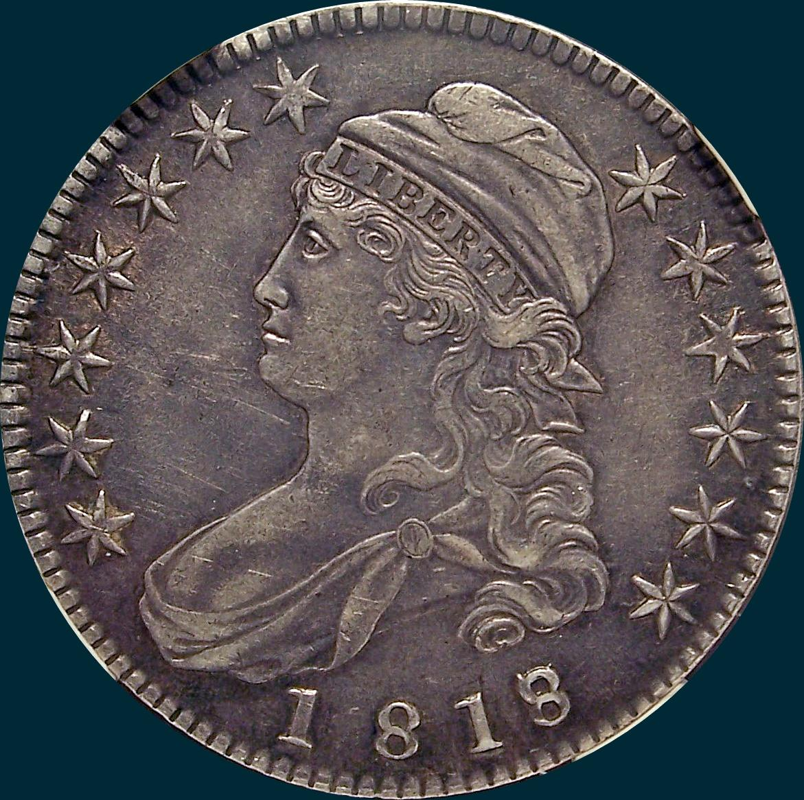 1818/7, O-102, Capped Bust, Half Dollar