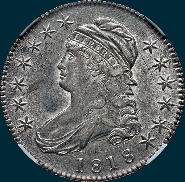 1818 O-105, capped bust, half dollar