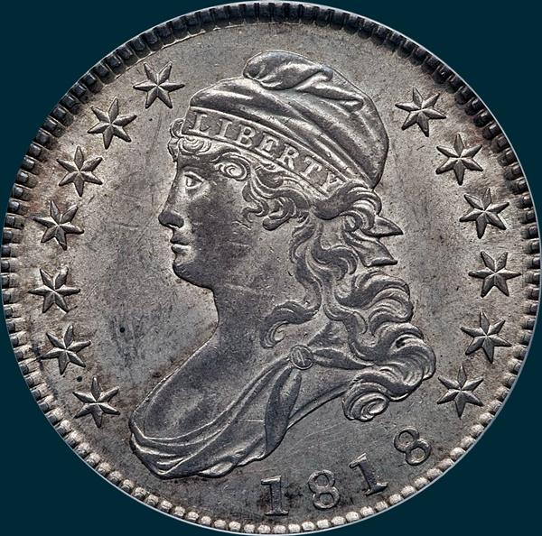 1818 O-106, capped bust, half dollar