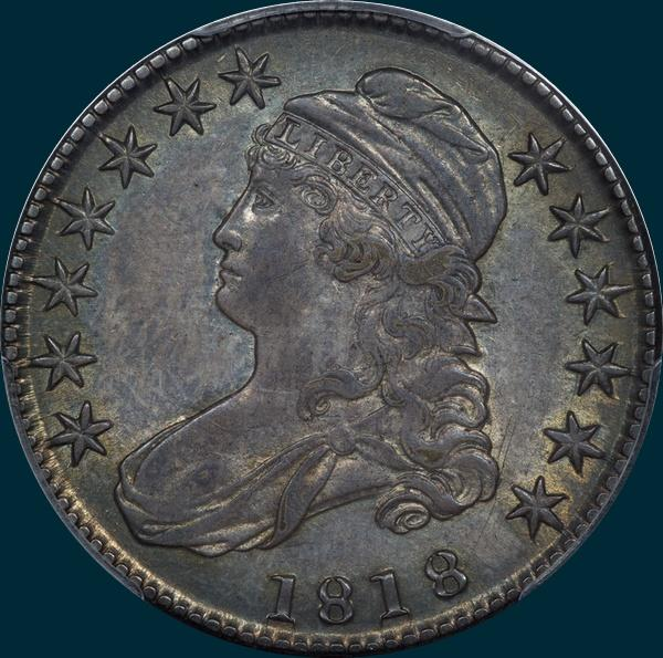 1818 O-108, capped bust, half dollar