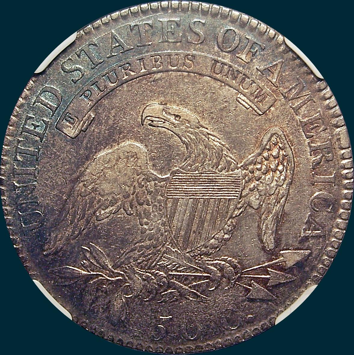 1818 O-110, capped bust half dollar