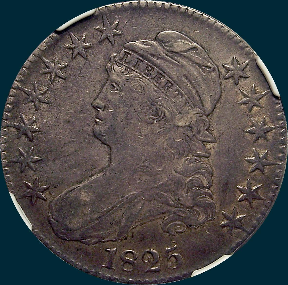 1825, O-103, capped bust, half dollar