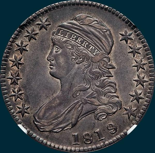 1819, O-103a, Large 9 over 8, Capped Bust, Half Dollar