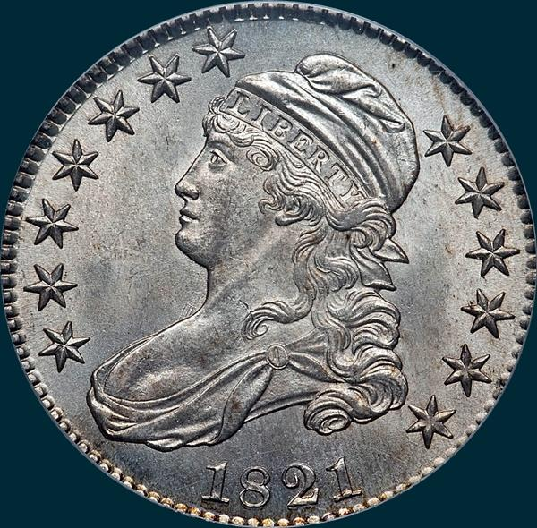 1821, O-101, Capped Bust, Half Dollar