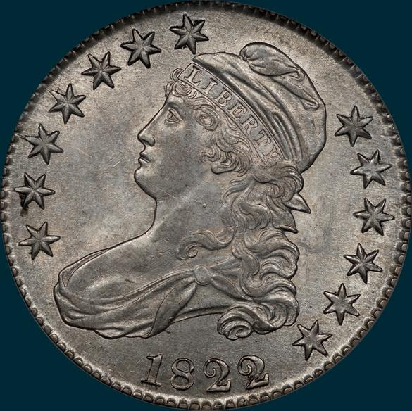 1822 O-107, capped bust, half dollar