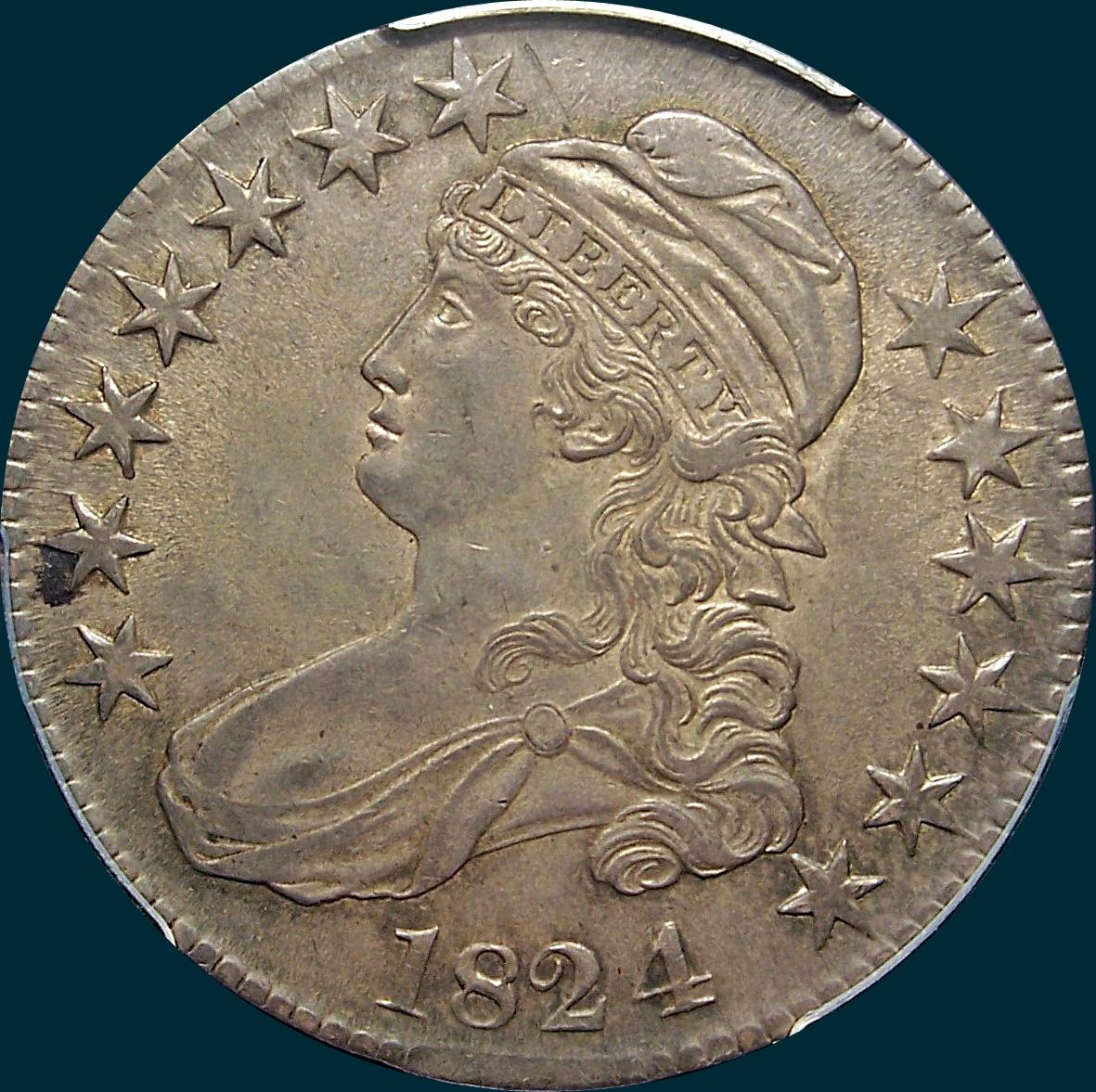 1824 over 4, O-110, capped bust half dollar