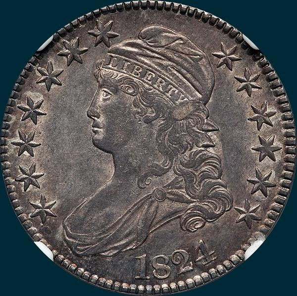 1824 O-106, capped bust half, dollar