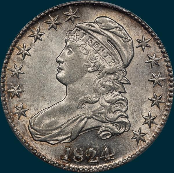 1824, O-112, Capped Bust, Half Dollar