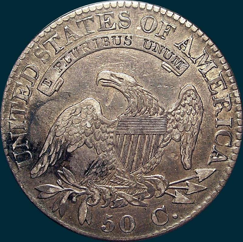 1824 O-108, capped bust half dollar