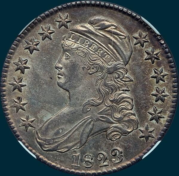 1823, O-102, Patched 3, Capped Bust, Half Dollar