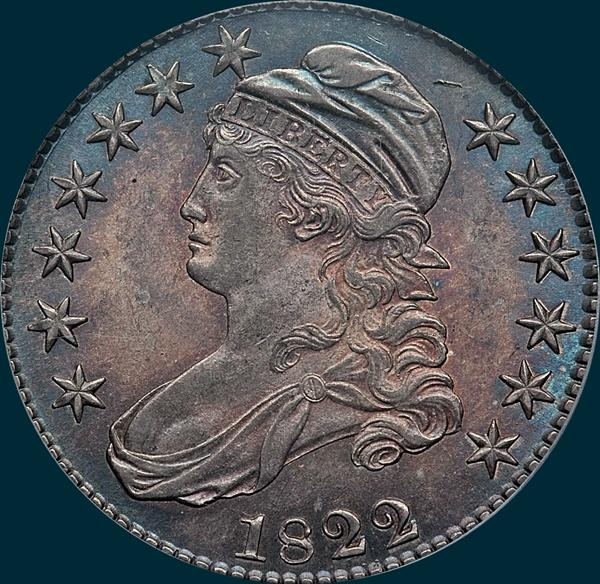 1822 O-109, capped bust half dollar