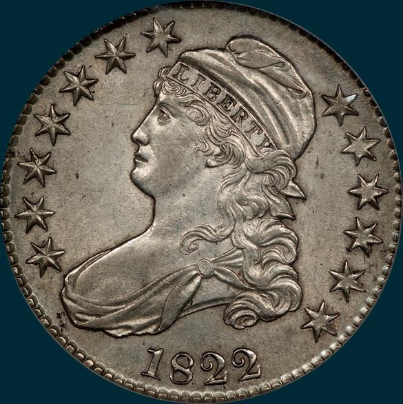 1822, O-112, capped bust. half dollar