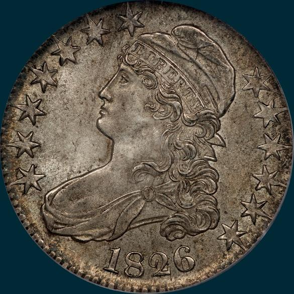 1826, O-114, Capped Bust Half Dollar