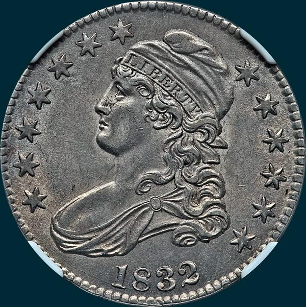 1832, O-120, Small Letters, Capped Bust, Half Dollar