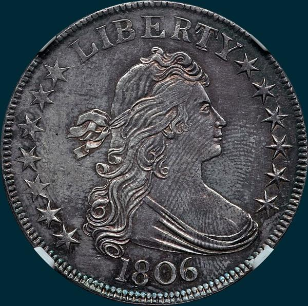 1806, O-114, Draped Bust, Half Dollar, Pointed 6, Stem