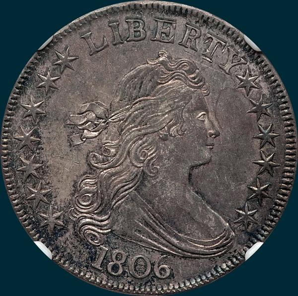 1806, O-114a, Draped Bust, Half Dollar, Pointed 6, Stem