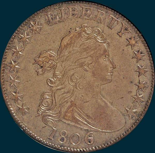 1806, 6 over inverted 6, 6/9, O-111, Draped Bust, Half Dollar