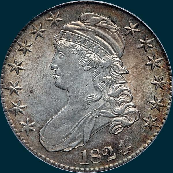 1824 O-111, caped bust half dollar